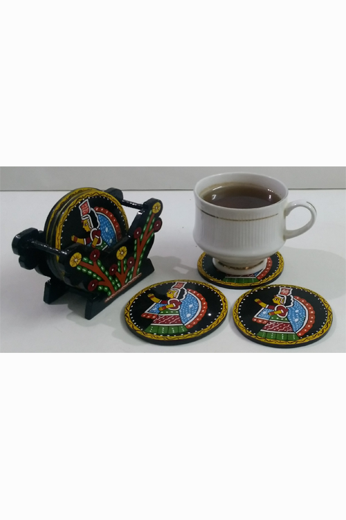 Tikuli-Art-Hand-Painted-Round-and-Square-Coaster-set-of-six-with-Stand-29