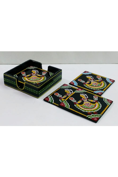 Tikuli-Art-Hand-Painted-Round-and-Square-Coaster-set-of-six-with-Stand-30