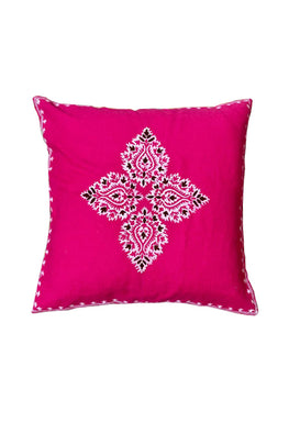 Block Printing with Hand Embroided  Cushion Cover-13