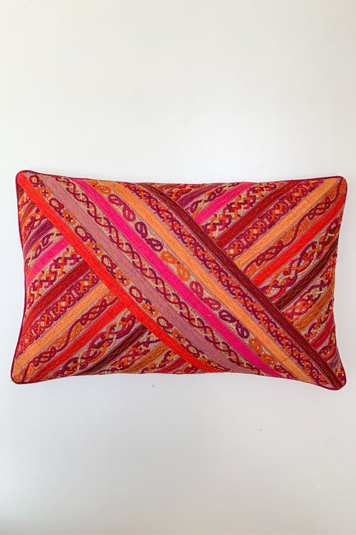 "Shrujan Pakko Embroidery Cushion Cover (14"" X 22"")-2"