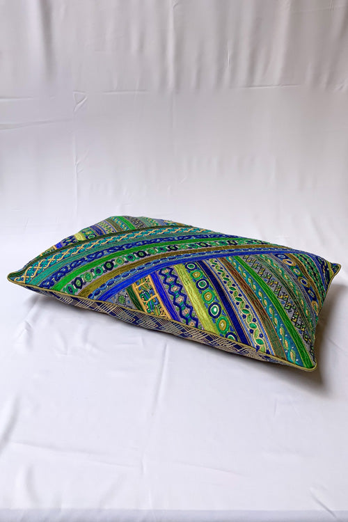 "Shrujan Mix Embroidery Cushion Cover (14"" X 22"")-6"