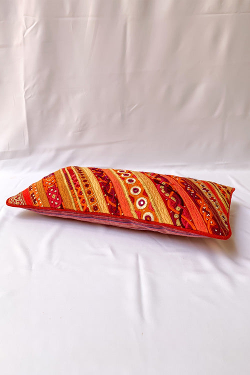 "Shrujan Mix Embroidery Cushion Cover (8"" X 16"")-16"