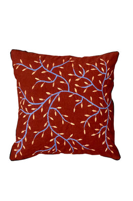 Okhai Red 16x16 Hand Embroidered Cushion Cover Online