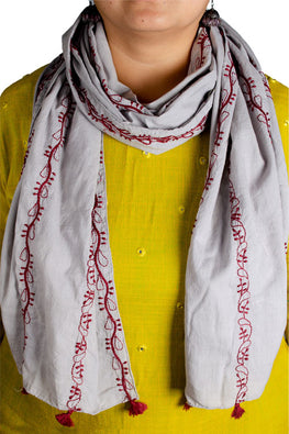 Samuday Craft Cotton Voile Chikankari Scarf.36