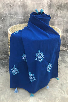 Samuday Crafts Chikankari Cotton Blue Stole