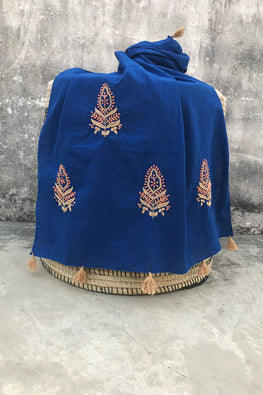 Samuday Crafts Chikankari Cotton Cambric Blue Stole