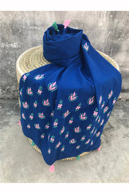 Samuday Crafts Traditional Chikankari Cotton Blue Stole