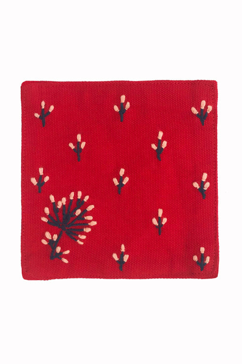 Samuday Crafts Set of 4 Hand Embroidered Cotton Yarn Dye Red Table Coaster