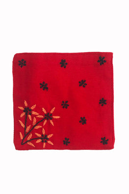Samuday Crafts Set of 4 Hand Embroidered Cotton Yarn Dye Gurli Red TableCoaster