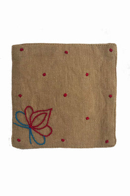 Samuday Crafts Set of 4 Hand Embroidered Cotton Yarn Dye Lenda Beige Table Coaster
