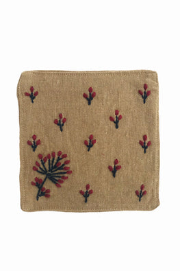 Samuday Crafts Set of 4 Hand Embroidered Cotton Yarn Dye Lenda Beige TableCoaster