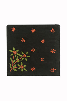 Samuday Crafts Set of 4 Hand Embroidered Cotton Yarn Dye Green Table Coaster