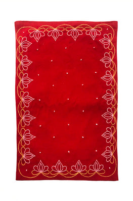 Samuday Crafts Hand Embroidered Cotton Yarn Dye Red Tablemat