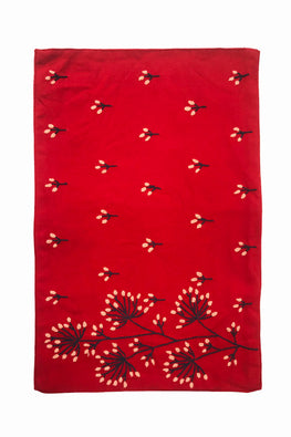 Samuday Crafts Hand Embroidered Cotton Yarn Dye Gurli Red Tablemat