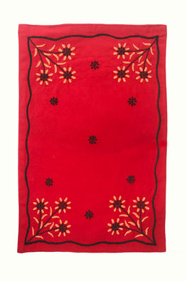 Samuday Crafts Hand Embroidered Cotton Yarn Dye Red Dining Tablemat