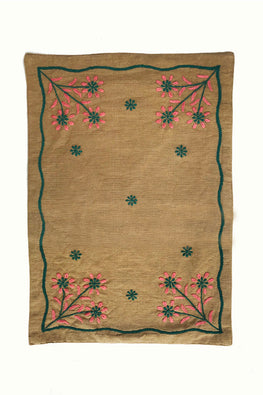 Samuday Crafts Hand Embroidered Cotton Yarn Dye Beige Tablemat