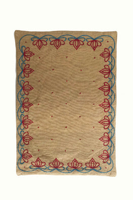 Samuday Crafts Hand Embroided Cotton Yarn Dye Lenda Beige Tablemat
