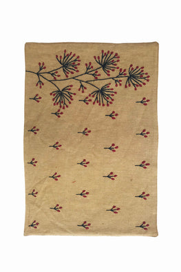 Samuday Crafts Hand Embroidered Cotton Yarn Dye Lenda Beige Dining Tablemat