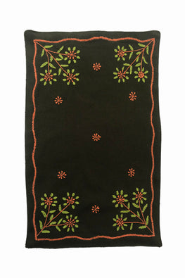Samuday Crafts Hand Embroidered Cotton Yarn Dye Solid Green Tablemat