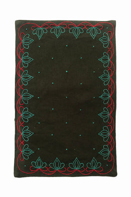 Samuday Crafts Hand Embroidered Cotton Yarn Dye Green Tablemat