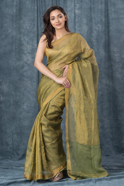 "Qissaa ""Coppery"" Handwoven Pure Linen Green Saree"
