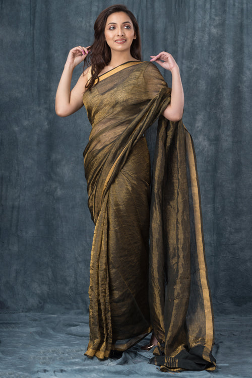 "Qissaa ""Coppery"" Handwoven Pure Linen Black Saree"