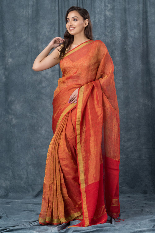 "Qissaa ""Coppery"" Handwoven Pure Linen Red Saree"