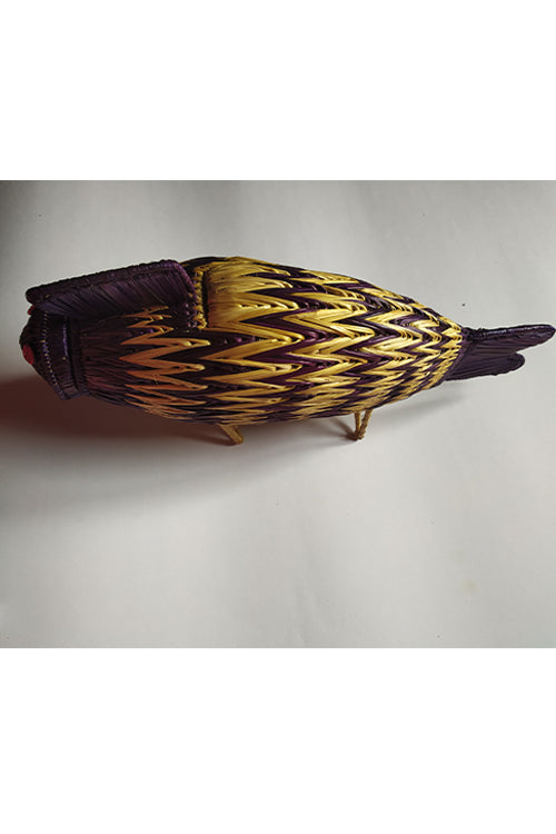Handcrafted Sikki Grass Fish- Col Blue Natural.