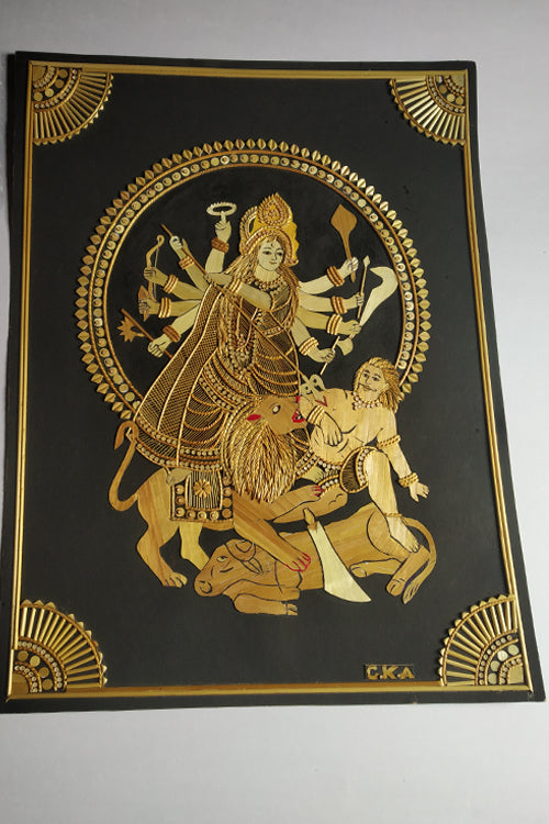 Handcrafted Sikki Craft Durga Maa- Col Natural