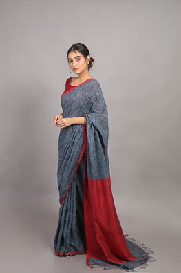 Sasha-Handloom Saree with blouse piece-5