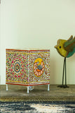 StudioMoya 'Peacock Foliage' Hand-painted On Leather Square Tea Light Lamp