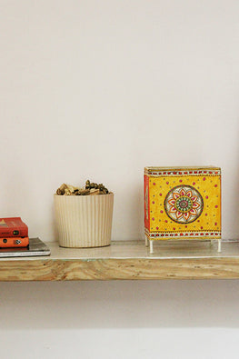 StudioMoya 'Mandala' Hand-painted On Leather Square Tea Light Lamp