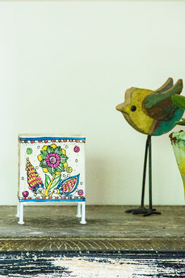StudioMoya 'Floral Tholu' Hand-painted On Leather Square Tea Light