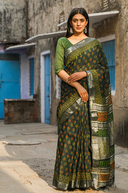 Sun & Shadows: Handblock Printed Slub Cotton Saree