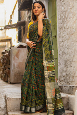 Small Folks of the Big City : Handblock Printed Slub Cotton Saree