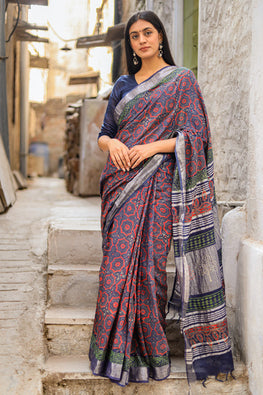 Udaan - Flights of Fantasy : Handblock Printed Slub Cotton Saree