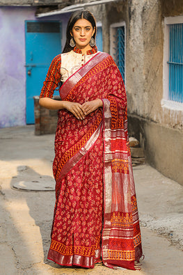Crimsn Rose : Handblock Printed Slub Cotton Saree