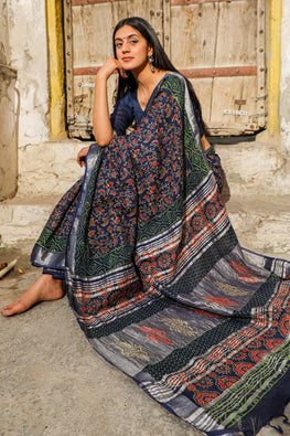 Marvellous: Handblock Printed Slub Cotton Saree