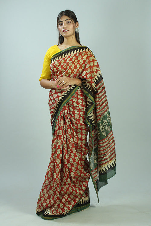 Buy Okhai Bagru Handblock Print Red & Green Chanderi Silk Saree Online