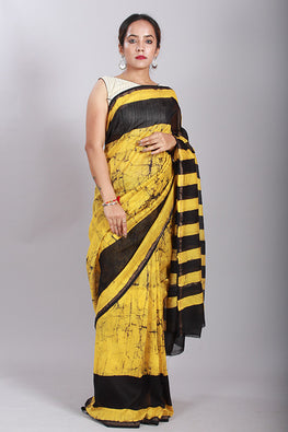 Okhai Batik Handblock Print Chanderi Silk Yellow Saree With Black Border