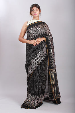 Chuna Patri Handblock Print Chanderi Silk Saree in a contrast blend of Black & White-42