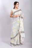 Chuna Patri Handblock Print Chanderi Silk Saree in a contrast blend of Black & White-45