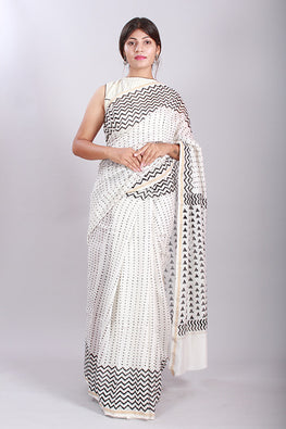 Chuna Patri Handblock Print Chanderi Silk Saree in a contrast blend of Black & White-48