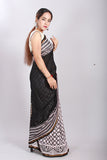Chuna Patri Handblock Print Chanderi Silk Saree in a contrast blend of Black & White-49