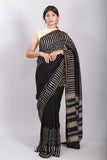 Chuna Patri Handblock Print Chanderi Silk Saree in a contrast blend of Black & White-50