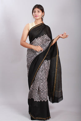 Chuna Patri Handblock Print Chanderi Silk Saree in a contrast blend of Black & White-52