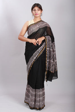 Chuna Patri Handblock Print Chanderi Silk Saree in a contrast blend of Black & White-54