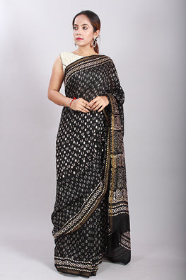 Chuna Patri Handblock Print Chanderi Silk Saree in a contrast blend of Black & White-55