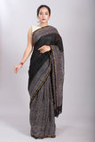 Chuna Patri Handblock Print Chanderi Silk Saree in a contrast blend of Black & White-57