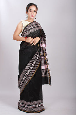 Chuna Patri Handblock Print Chanderi Silk Saree in a contrast blend of Black & White-59